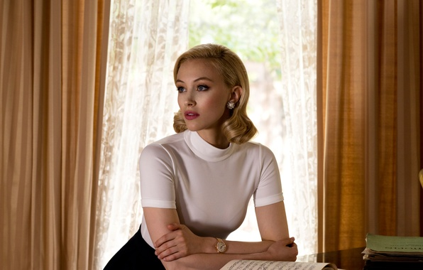 Picture notes, table, makeup, actress, window, hairstyle, blonde, photographer, curtains, curtains, notebook, brand, 2015, Sarah Gadon, …