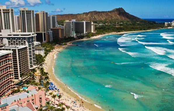 Picture wave, beach, the ocean, Hawaii, Beach, Waikiki
