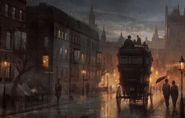 Picture night, people, rain, street, home, art, lights, the crew