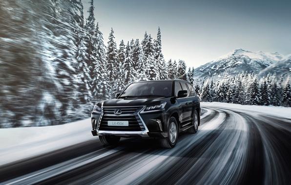 Picture winter, road, speed, Lexus, Lexus, LX 570