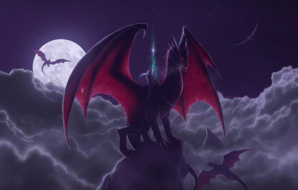 Picture night, fantasy, the moon, dragon, rider