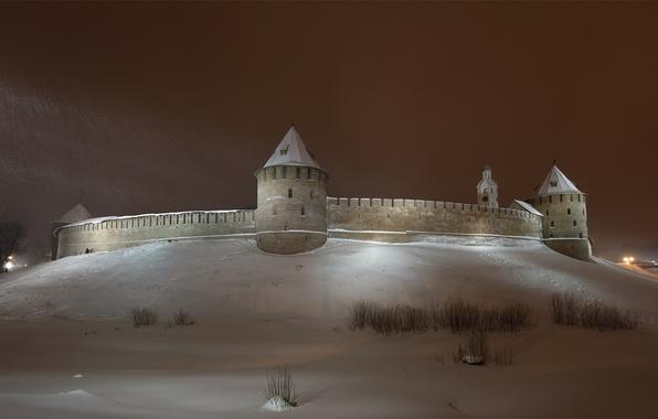 Picture winter, the sky, snow, night, the city, wall, tower, the Kremlin, tower, Novgorod, Novgorod Kremlin, …