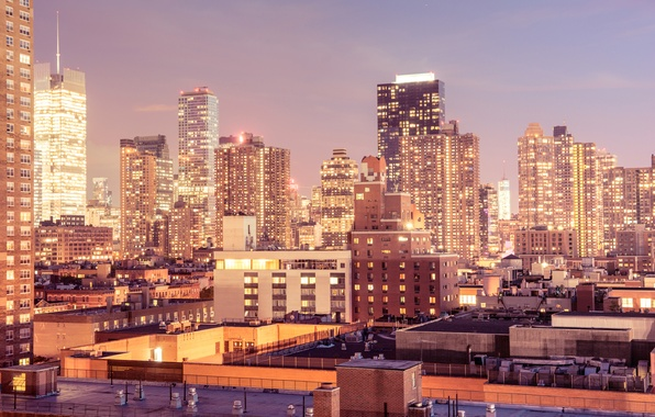 Picture light, the city, lights, Windows, building, home, New York, skyscrapers, the evening, roof, USA, USA, ...