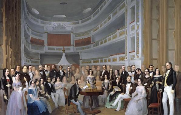 Picture people, scene, interior, picture, genre, Ventura de La VEGA Reads a Play in the Theater, …