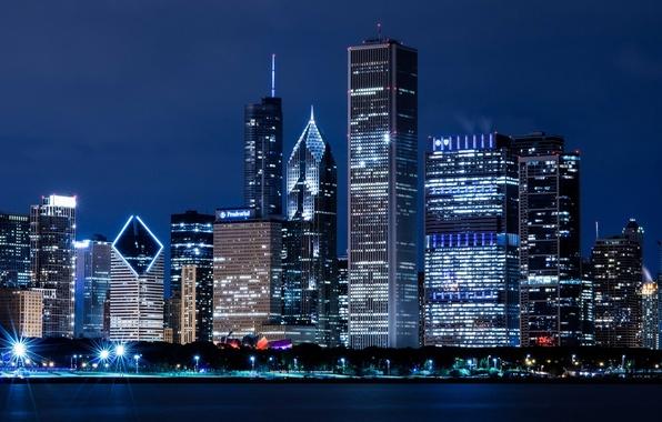 Picture night, the city, river, building, home, skyscrapers, Chicago, USA, USA, Il, Chicago, Illinois, skyscrapers