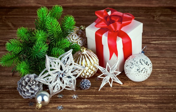 Picture decoration, gift, balls, tree, New Year, Christmas, Christmas, wood, decoration, Merry