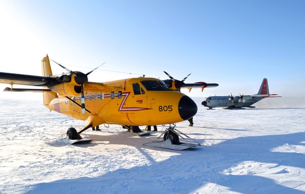 Picture winter, the sky, snow, the plane, ski
