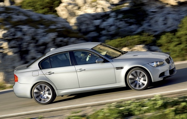 Picture Auto, BMW, Machine, Boomer, Grey, BMW, Sedan, Side view, In Motion, Limousine