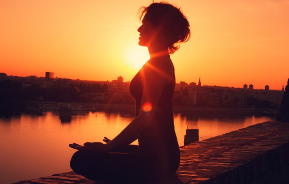 Picture woman, sunset, pose, yoga