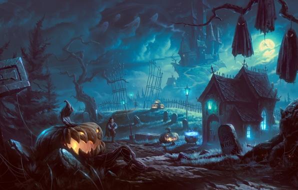 Picture trees, night, house, castle, tree, the moon, graves, art, lights, Halloween, pumpkin, vampire, bats, gloomy