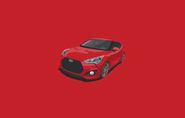 Picture Red, Car, Hyundai, Veloster, Minimalistic