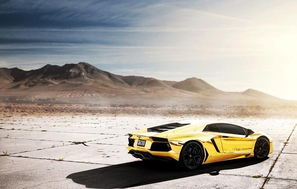 Picture the sky, the sun, reflection, Lamborghini, Lamborghini, Blik, Lamborghini, LP700-4, Aventador, Aventador, LB834, Golden chrome, …