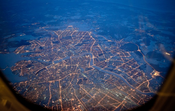 Picture night, lights, height, Saint Petersburg, Peter
