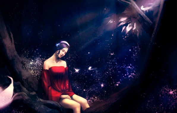Picture forest, girl, butterfly, night, pose, sitting, art, urami