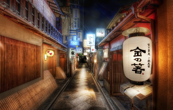 Picture strip, road, Japan, signs, lantern, characters