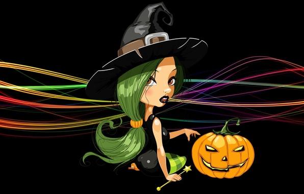 Picture line, hat, pumpkin, witch, black background, sitting, green hair, Happy Halloween, witch, Jack