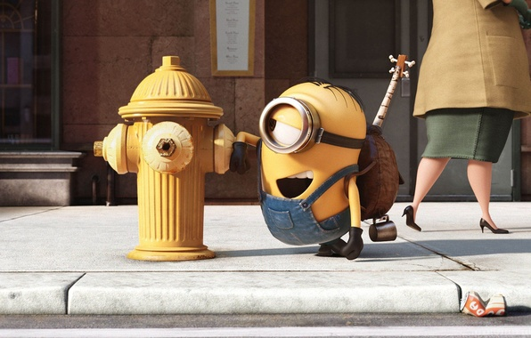 Picture cinema, guitar, yellow, street, movie, eye, glasses, film, bones, Minions, Despicable Me, gloves, stairs, Minion, …
