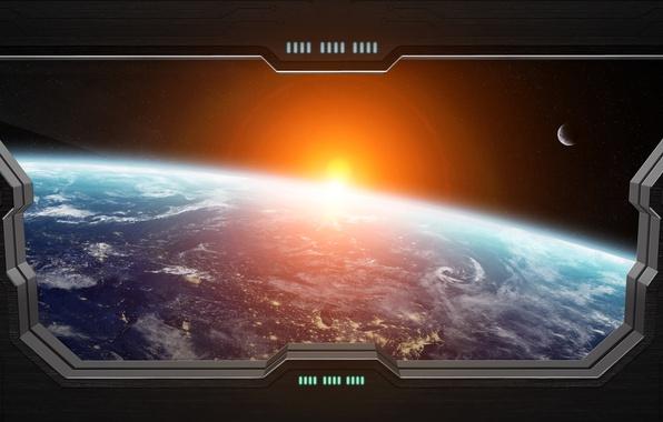 Picture light, star, planet, Sci FI, window spaceship