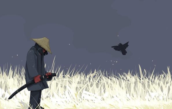 Picture bird, vector, warrior, Sword