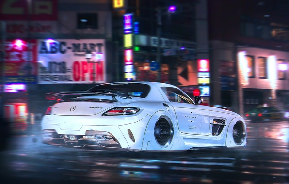 Picture Mercedes-Benz, AMG, SLS, Night, White, Tuning, Future, Supercar, by Khyzyl Saleem