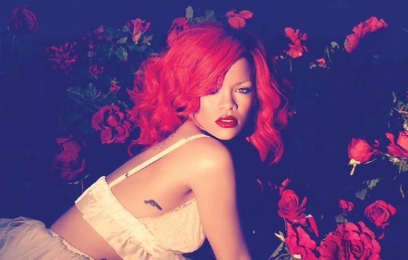 Picture girl, music, roses, singer, rihanna, celebrity, Rihanna