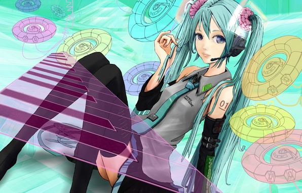 Picture look, girl, headphones, vocaloid, hatsune miku, sitting, art, sputnik movie