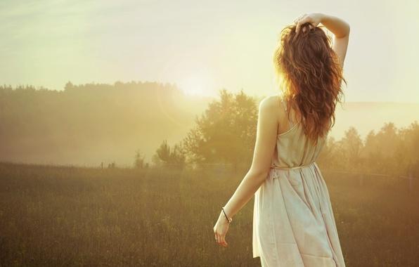 Picture girl, fog, back, morning, bracelet, brown hair
