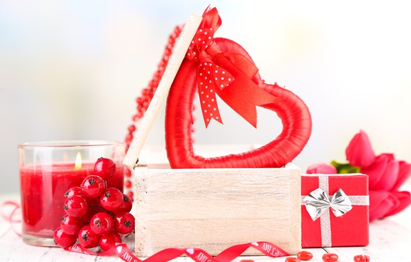 Picture flowers, berries, gift, red, heart, candle, bouquet, tulips, box, heart