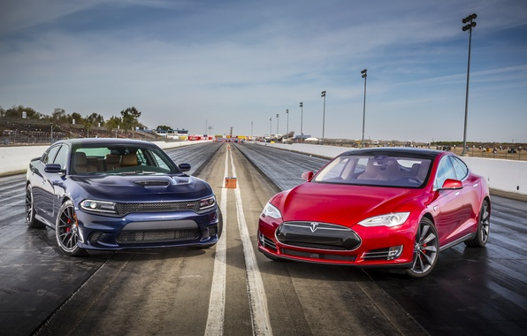 Picture Dodge, Dodge, Charger, Tesla, the charger, SRT, Model S, 2015, P85D