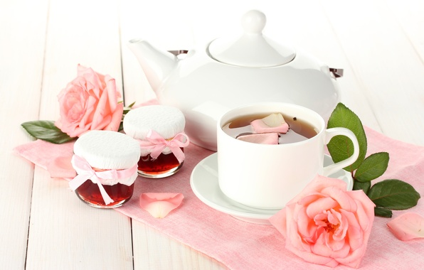 Picture white, leaves, flowers, tea, roses, petals, kettle, jars, Cup, pink, saucer, jam, jam
