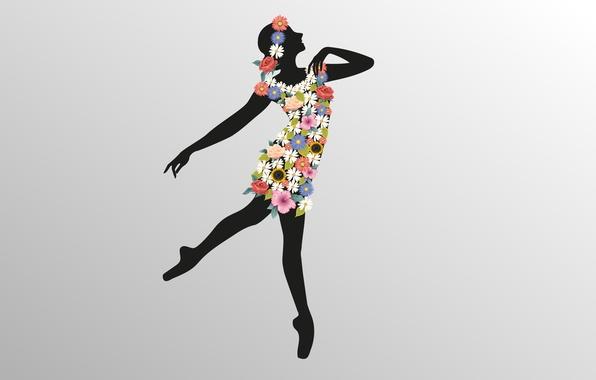 Picture girl, flowers, figure, dance, vector, silhouette, grace, ballerina