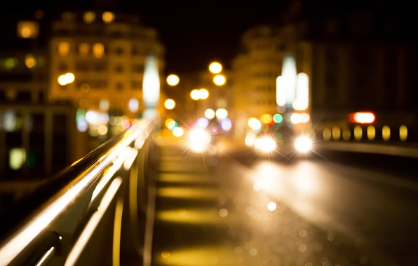 Picture road, light, machine, night, lights, lights, home, The city, blur, bokeh