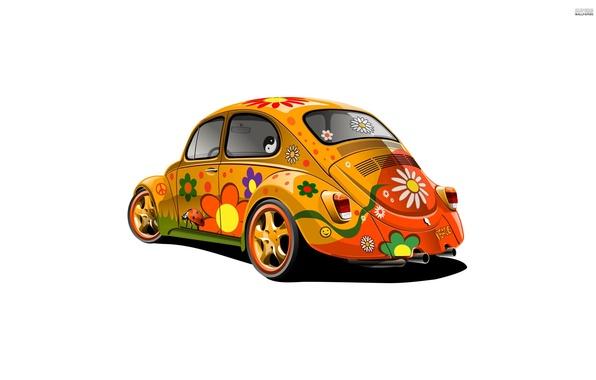 Picture machine, beetle, minimalism, Volkswagen