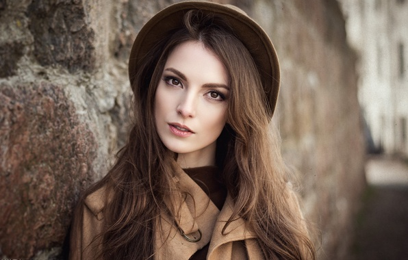 Picture look, girl, style, wall, sweetheart, portrait, hat, brown hair, beautiful, the beauty, coat, vintage, bokeh, …