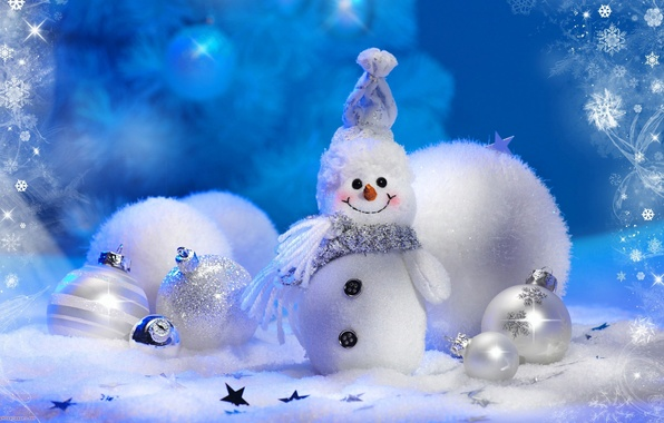 Picture winter, balls, snowflakes, holiday, toys, tree, new year, snowman