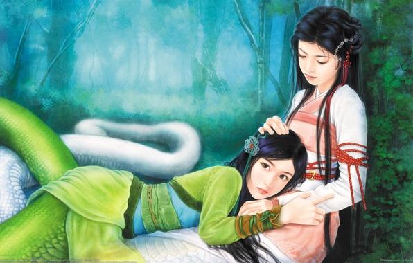 Picture forest, snakes, girls, art, tail, lies, kimono, wen chen yen