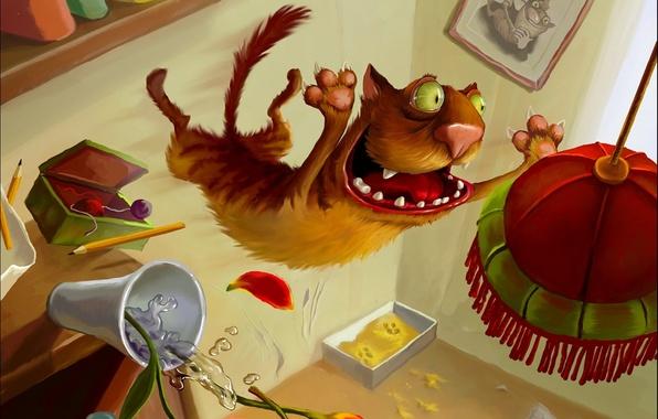 Picture cat, figure, Elena Sedova, chandelier