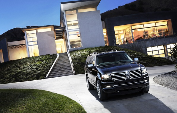 Picture Auto, Black, House, Machine, Jeep, Car, SUV, The front, Lincoln Navigator