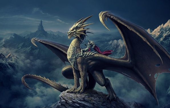Picture mountains, castle, dragon, tower, art, rider, Nick Deligaris
