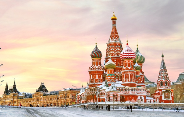 Picture winter, snow, city, area, Moscow, The Kremlin, St. Basil's Cathedral, Russia, Russia, Moscow, Kremlin