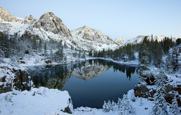 Picture winter, forest, the sky, snow, trees, mountains, lake