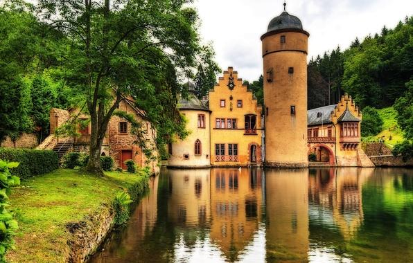 Picture water, trees, landscape, lake, castle, landscape, tower, Germany, landscape, Germany, castle, Mespelbrunn castle