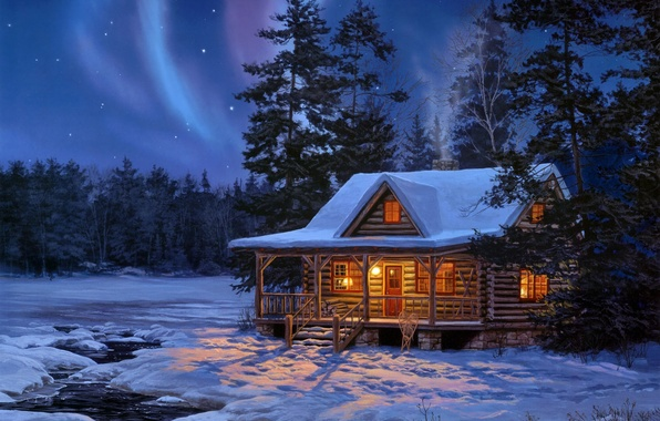 Picture winter, forest, water, stars, light, snow, night, house, lights, stream, wooden, painting, log, Darrell Bush, …