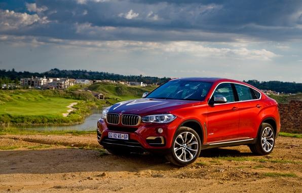 Picture sand, the sky, grass, lake, river, BMW, BMW, Sport, xDrive, F16, 2015, ZA-spec