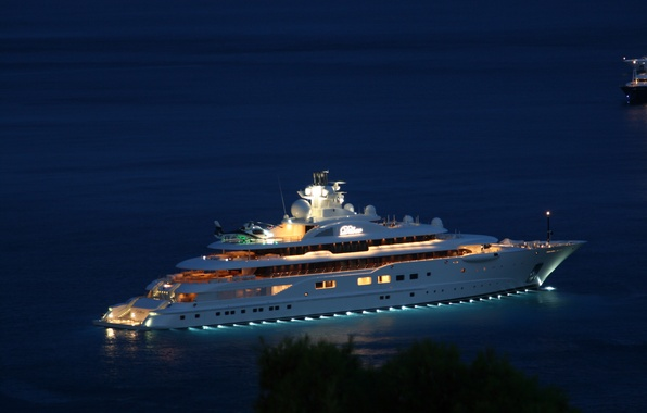 Picture night, yacht, helicopter, night, helicopter, yacht, sea., super yacht, super yacht, mega yacht, motor yacht, …