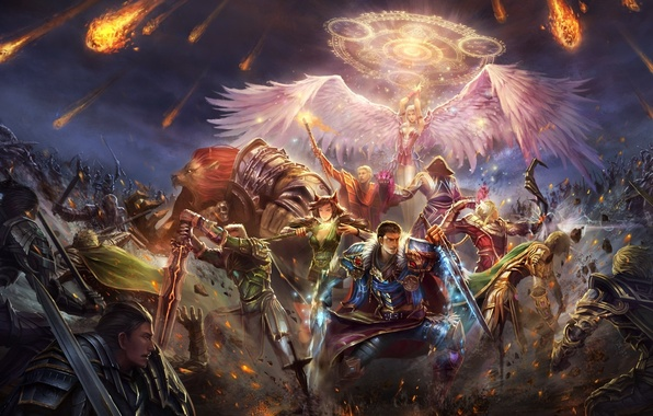 Picture magic, wings, angel, sword, army, battle, Perfect World