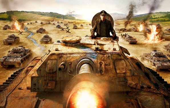 Picture TRUNK, WEAPONS, WAR, TANKS, FIGURE, CAP, EXPLOSIONS, The COMMANDER, SHOTS, The GERMANS, OFFENSIVE