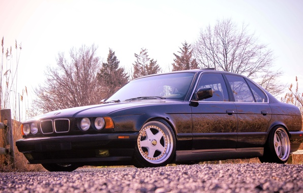 Picture BMW, BMW, black, black, tuning, E34, 525, 5 series