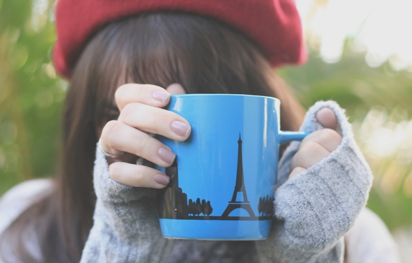 Picture greens, girl, macro, nature, grey, background, pattern, mood, hat, figure, Eiffel tower, blur, hands, brunette, ...