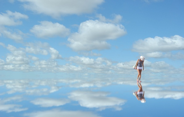 Picture the sky, clouds, blue, reflection, woman, mirror, sky, woman, blue, clouds, reflection, mirror